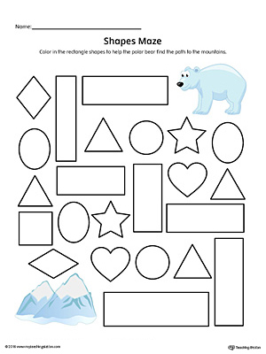 Rectangle Shape Maze Printable Worksheet (Color)