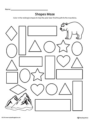 picture regarding Printable Shapes Worksheets known as Rectangle Form Maze Printable Worksheet