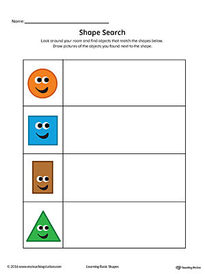 Shape Search Printable Worksheet (Color) | Myteachingstation.Com