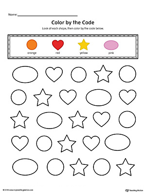 Shapes Color by Code: Circle, Oval, Star, Heart (Color)