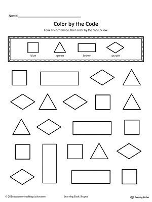 Learn shapes and colors with this fun printable worksheet. In this activity, your child will practice recognizing the square, triangle, rectangle, diamond shapes along with the colors blue, green, brown and purple.
