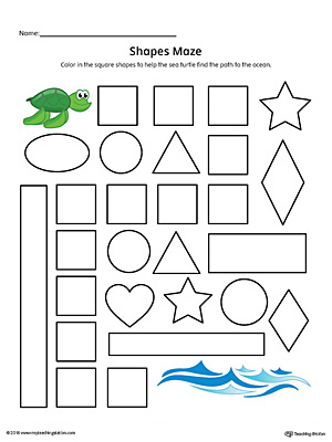 Square Shape Maze Printable Worksheet (Color)