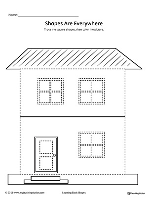 Square Shape Picture Tracing Worksheet