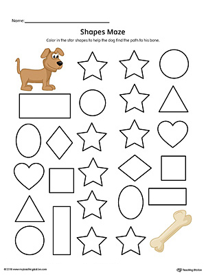 Star Shape Maze Printable Worksheet (Color)