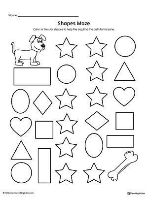 Star Shape Maze Printable Worksheet | Myteachingstation.Com