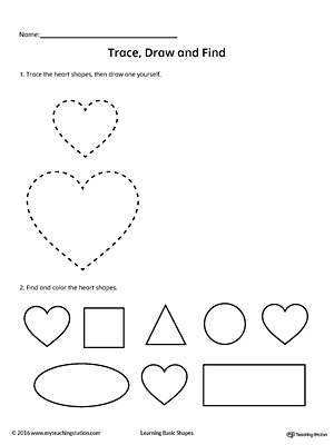 Trace, Draw and Find: Heart Shape