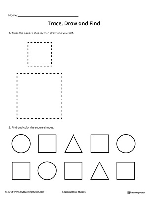 Trace, Draw and Find: Square Shape