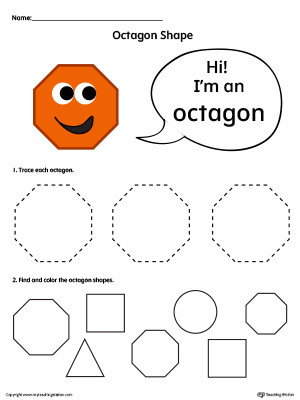 Trace and Color Octagon Shapes in Color | MyTeachingStation.com