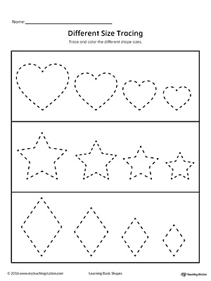 Tracing Different Size Shapes: Heart, Star, Diamond