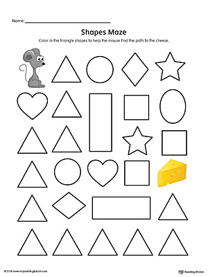 Triangle Shape Maze Printable Worksheet (Color)