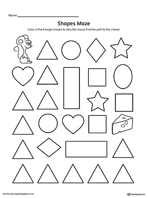 Practice identifying Triangle geometric shapes with this fun and simple printable maze.