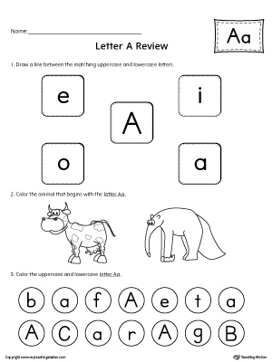 All About Letter A Printable Worksheet