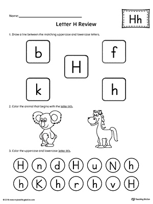 Trace Letter H and Connect Pictures Worksheet | MyTeachingStation.com