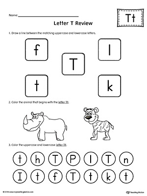All About Letter T Printable Worksheet