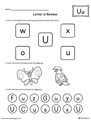 All About Letter U Printable Worksheet
