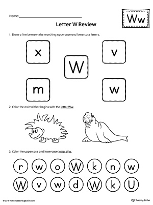 All About Letter W Printable Worksheet