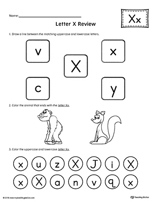 Letter X Review Worksheet | MyTeachingStation.com
