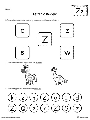 All About Letter Z Printable Worksheet