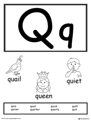 image about Letter Q Printable called Letter Q Printable Alphabet Flash Playing cards for Preschoolers