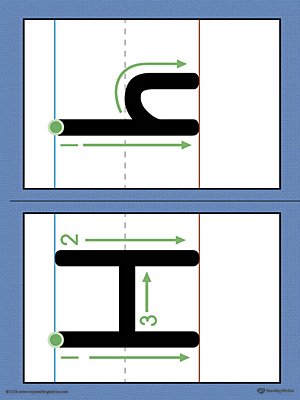 Alphabet Letter H Formation Card Printable (Color)