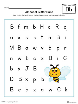 Alphabet Letter Hunt: Letter B Worksheet (Color)