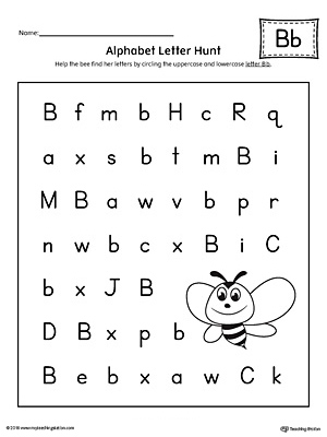 alphabet letter hunt letter b worksheet. Black Bedroom Furniture Sets. Home Design Ideas