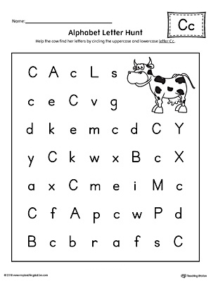 Alphabet Letter Hunt: Letter C Worksheet