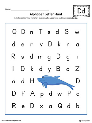 Alphabet Letter Hunt: Letter D Worksheet (Color)