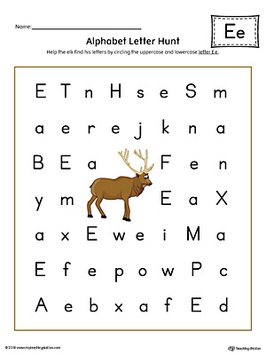 Alphabet Letter Hunt: Letter E Worksheet (Color)