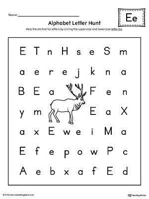 Alphabet Letter Hunt: Letter E Worksheet