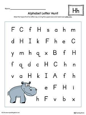 Alphabet Letter Hunt: Letter H Worksheet (Color)
