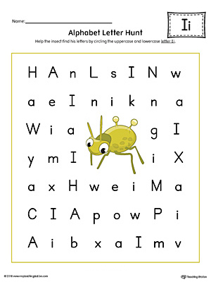 Alphabet Letter Hunt: Letter I Worksheet (Color)