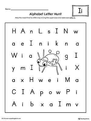 Alphabet Letter Hunt: Letter I Worksheet