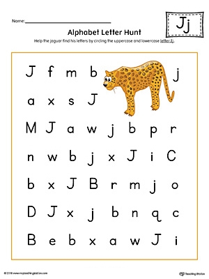 Alphabet Letter Hunt: Letter J Worksheet (Color)