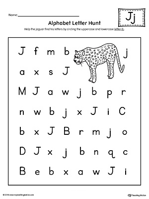 Alphabet Letter Hunt: Letter J Worksheet | MyTeachingStation.com