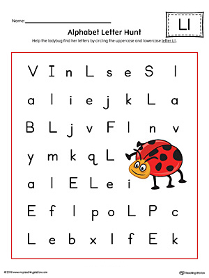 Alphabet Letter Hunt: Letter L Worksheet (Color)