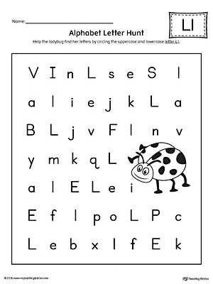 alphabet letter hunt letter l worksheet. Black Bedroom Furniture Sets. Home Design Ideas