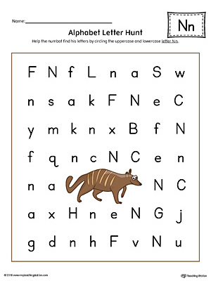 Alphabet Letter Hunt: Letter N Worksheet (Color)