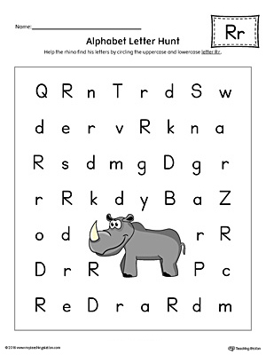 Alphabet Letter Hunt: Letter R Worksheet (Color)