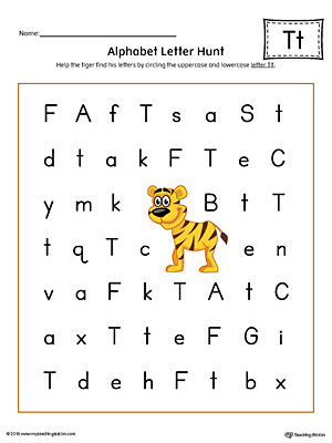 Alphabet Letter Hunt: Letter T Worksheet (Color)