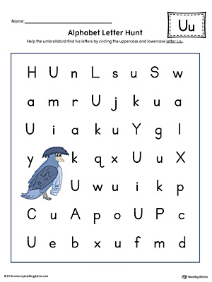 Alphabet Letter Hunt: Letter U Worksheet (Color)