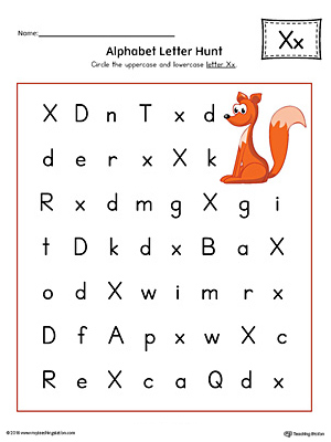 Alphabet Letter Hunt: Letter X Worksheet (Color)