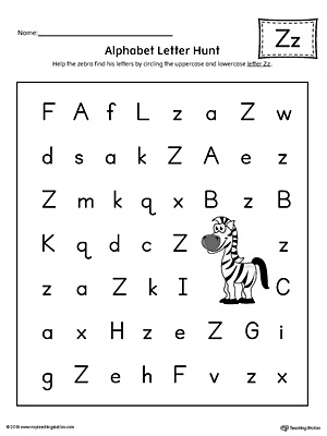 Alphabet Letter Hunt: Letter Z Worksheet (Color)