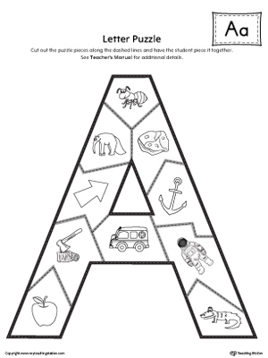 graphic relating to Printable Letter a called Letter A Puzzle Printable