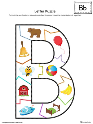 Letter B Puzzle Printable (Color)