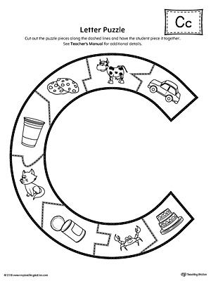 photo regarding Alphabet Puzzle Printable titled Letter C Puzzle Printable