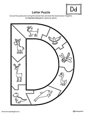 letter d puzzle printable. Black Bedroom Furniture Sets. Home Design Ideas