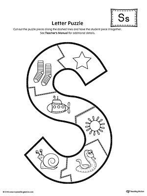 photograph regarding Printable Letter S named Letter S Puzzle Printable