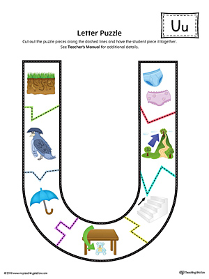 Letter U Puzzle Printable (Color)