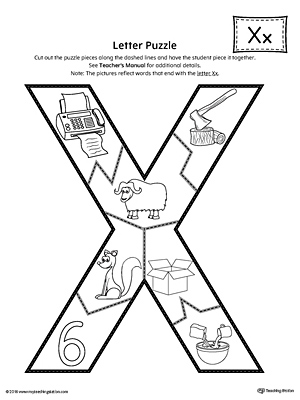 picture about Letter X Printable called Letter X Puzzle Printable